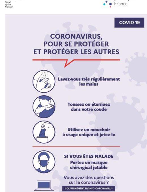 Coronavirus : les gestes barrières a adopter